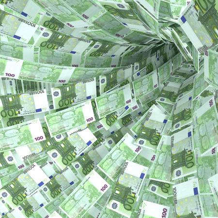 billets euro: vortex de l'argent de 100 billets en euros