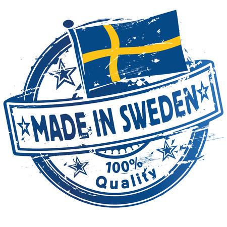 education in sweden: Rubber stamp made in Sweden Illustration