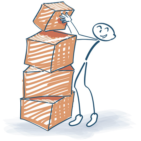 Stick figure and stacked packages