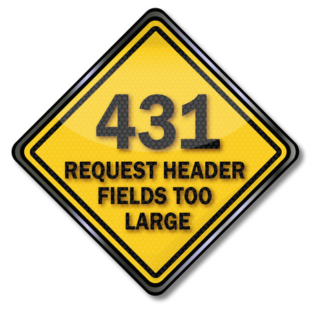 Computer sign 431 request header fields too large Illustration