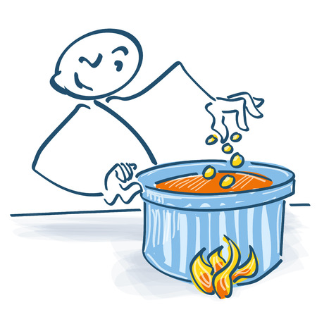 stockpot: Stick figure with saucepan Illustration