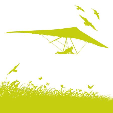 buoyancy: Blades of grass and birds Hang Gliders Illustration