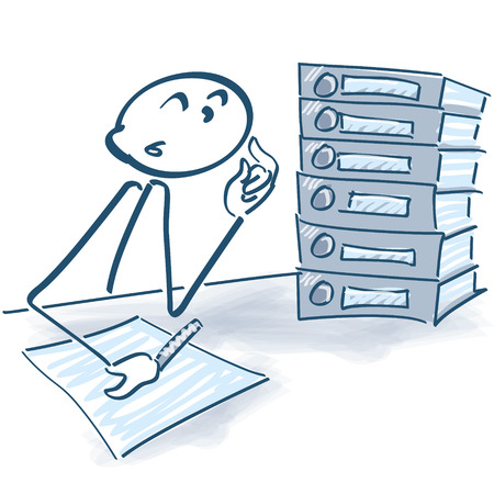 tax policy: Stick figure with files and overtime