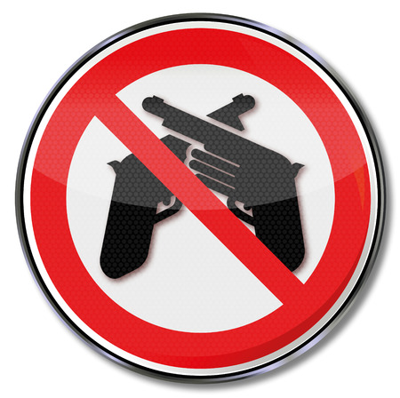 use pistol: Prohibition sign for weapons and violence Illustration