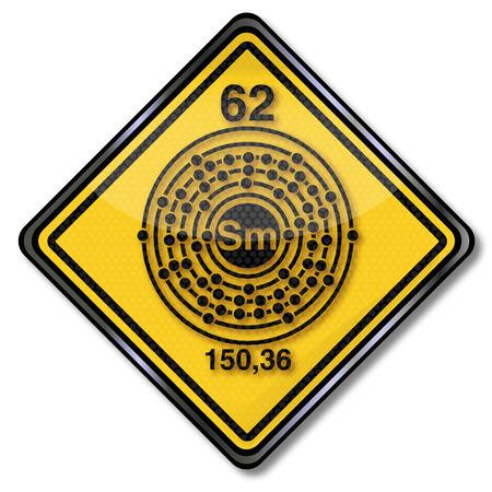 chemical bonds: Sign chemistry character samarium Illustration