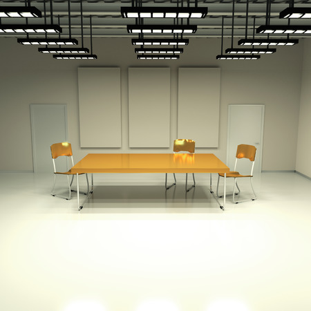 tubos fluorescentes: Habitaci�n sin ventanas con mesa y sillas Foto de archivo