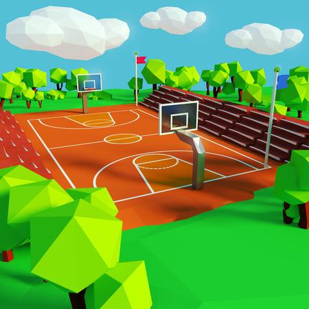 school sports: Basketball and basketball court