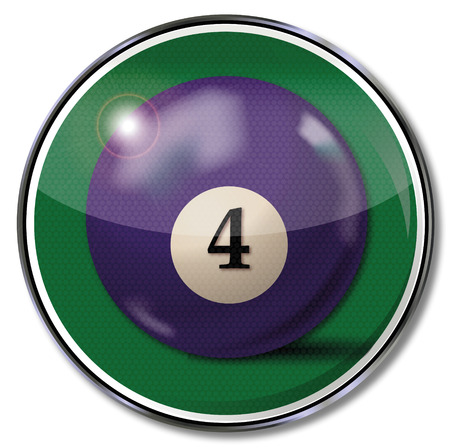 resin: Sign violet pool billiard ball number 4