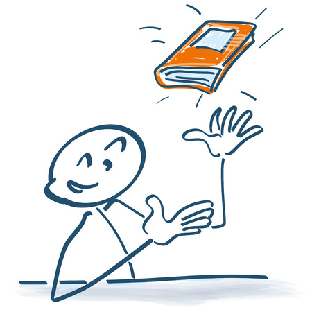 Stick figure with book in the air