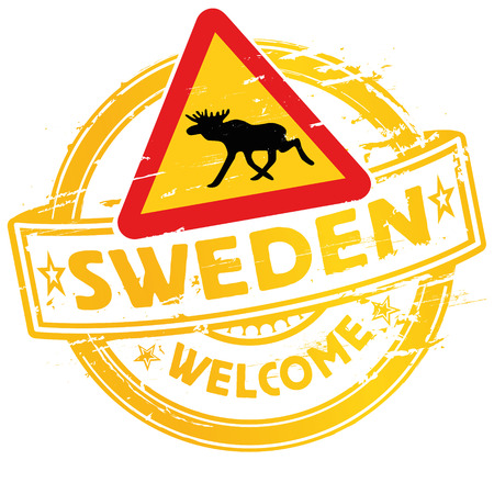 reputable: Rubber stamp welcome to Sweden Illustration