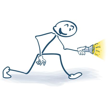 children's story: Stick figure with flashlight Illustration
