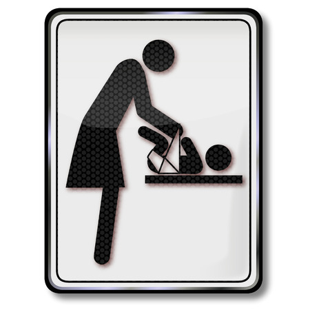 changing: Sign with changing table Illustration