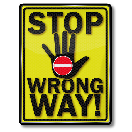 attentions: Stop sign wrong way Illustration