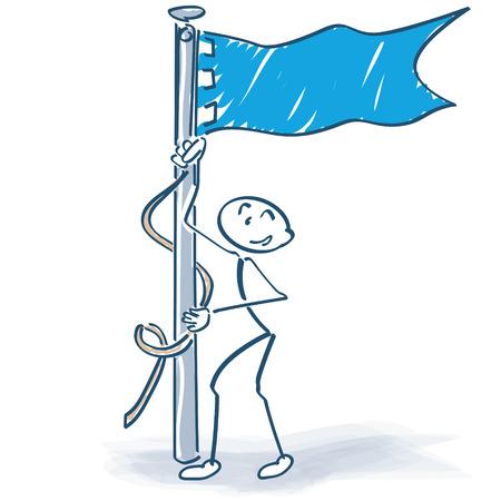 raising cans: Hoist the flag stick figure Illustration
