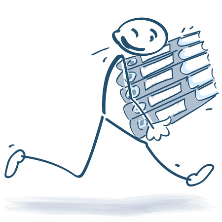 slowness: Stick figure running with file folders