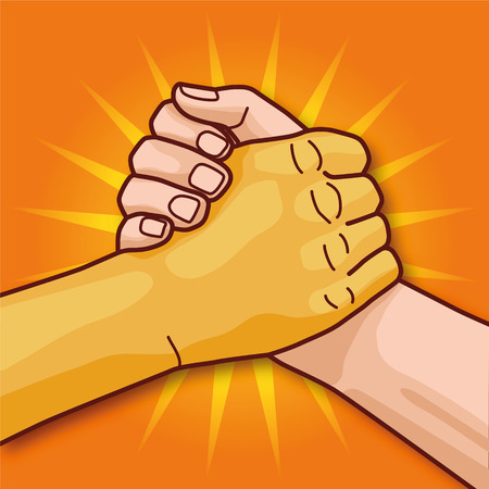 commonality: European and Asian hand while handshake and togetherness