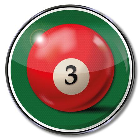 pool player: Shield red pool billiard ball number 3 Illustration