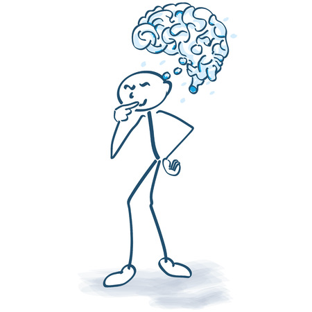 human figure: Stick figure with a brain Illustration
