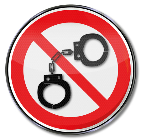 delinquency: Prohibition sign for handcuffs