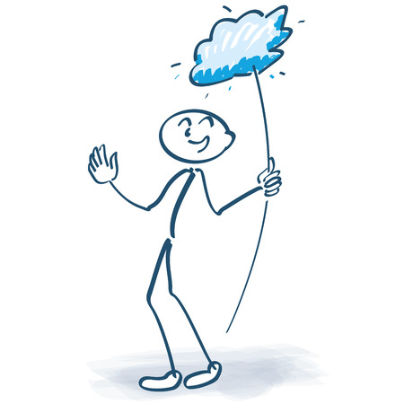 lolly: Stick figure with cloud lolly Illustration