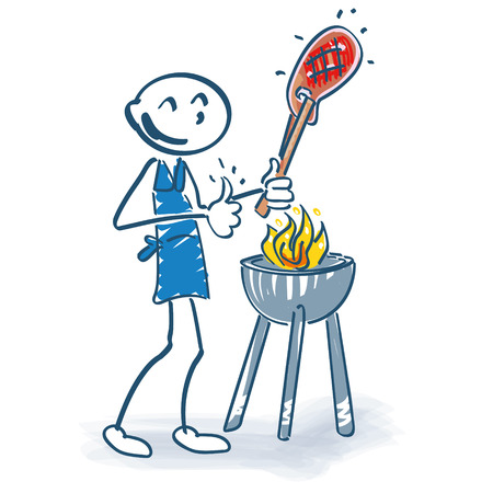 grill tongs sausage: Stick figure with grilling meat