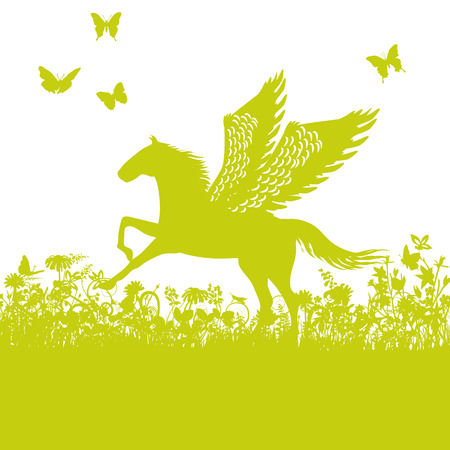 Pegasus or horse with wings Illustration
