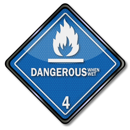 watch out: Sign danger sign four, flammable when wet