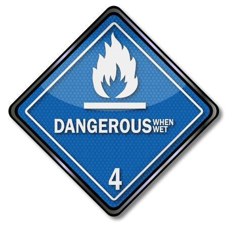 Sign danger sign four, flammable when wet