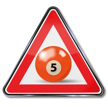 pool player: Shield orange pool billiard ball number 5