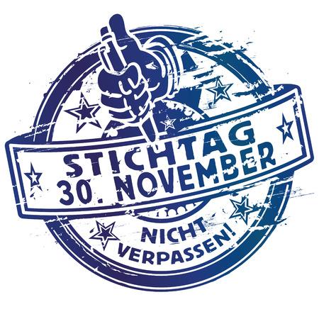 Rubber stamp date 30 November Illustration