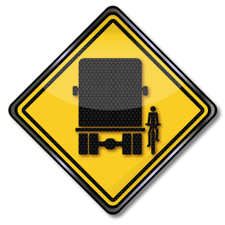 rearview: Warning sign blind spot when trucks and overlooked by cyclists Illustration