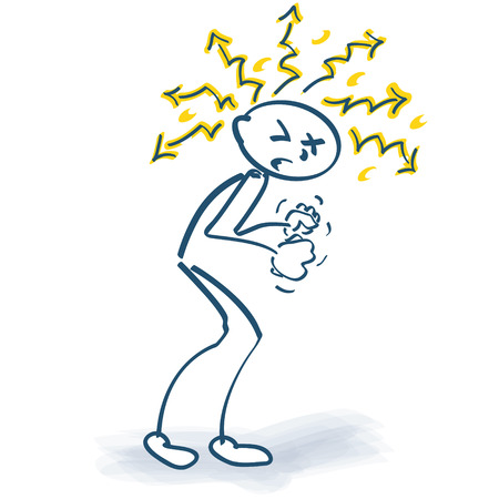 mobbing: Angry stick figure with lightnings around the head