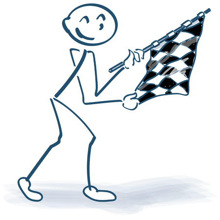 Stick figure with checkered flag Illustration