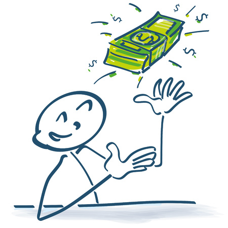 dollar bills: Stick figure with dollar bills in the air