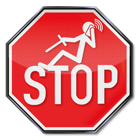 distraction: Stop sign for phoning while driving Illustration