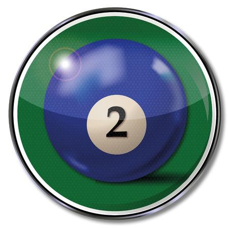 billiard ball: Shield blue pool billiard ball number 2