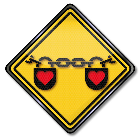 Love sign with chain and heart