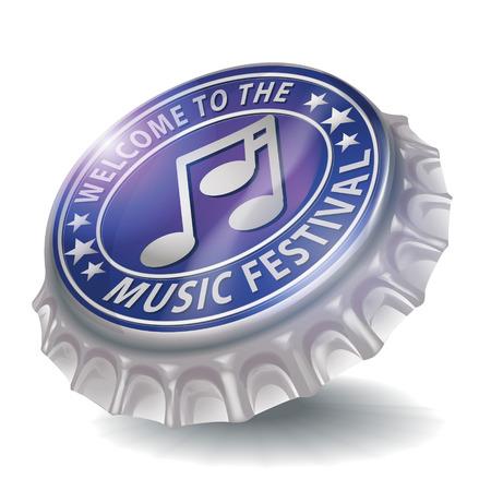 bier festival: Bottle cap welcome to the music festival Illustration