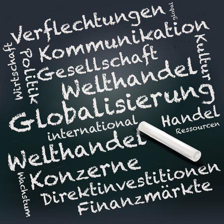 internationally: Blackboard and chalk with globalization