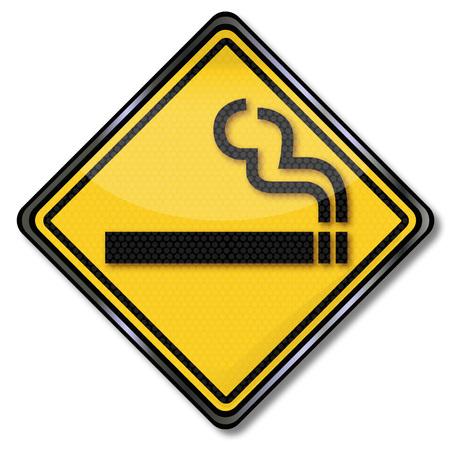acoso laboral: Muestra amarilla con un cigarrillo fumar