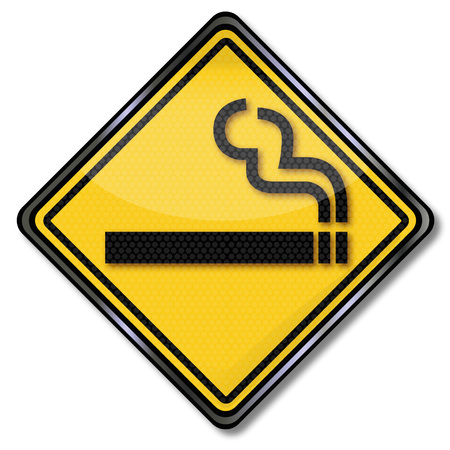 prohibit the production: Yellow sign with a smoking cigarette Illustration