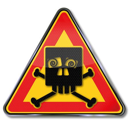 shudder: Sign with a funny skulls of squints Illustration