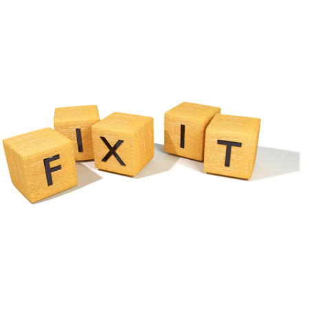 newscast: Cubes with fix it Stock Photo
