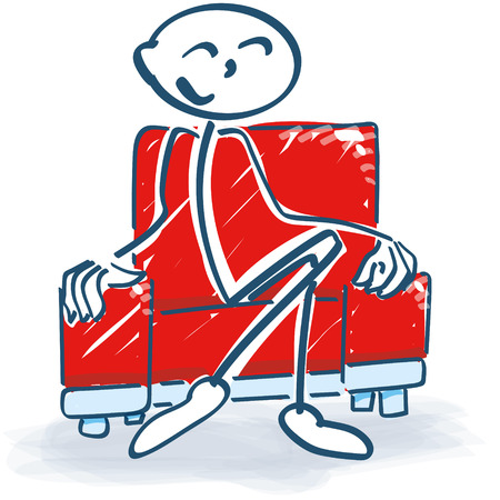 closing time: Stick figure with in a armchair Illustration