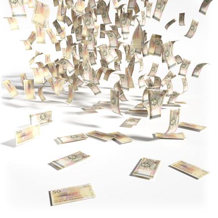 speculating: Money rain of 50 swedish kronor bills Stock Photo