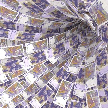 the european economic community: Money vortex of 20 Swedish kronor bills