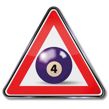 billiard ball: Shield violet pool billiard ball number 4