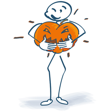 incidence: Stick figure with huge pumpkin Illustration