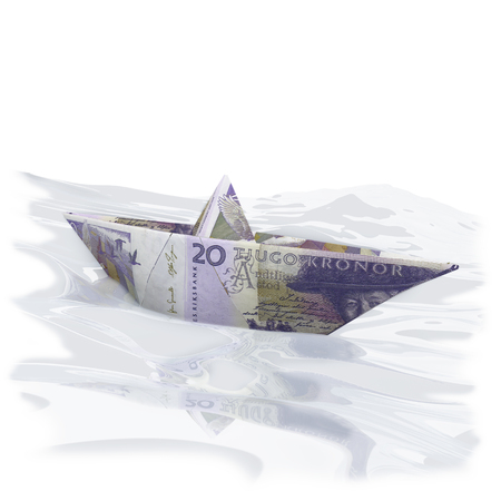 severance: Little paper boat with 20 swedish Crowns