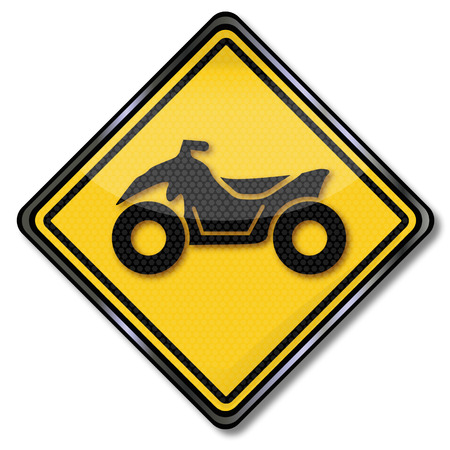 quad: Road sign with a quad Illustration